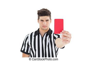 popa, árbitro, mostrando, cartão vermelho