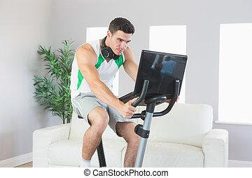 popa, bonito, homem, treinamento, ligado, bicicleta...