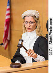 popa, juiz, sentando, e, escutar