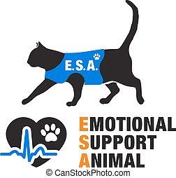 poparcie, emocjonalny, emblematy, zwierzę