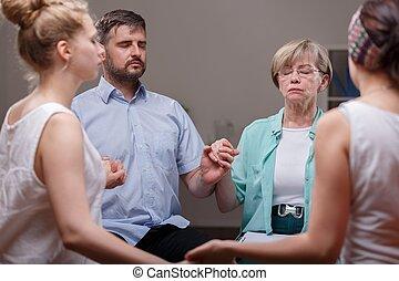 poparcie grupa, podczas, terapia