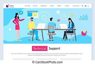 poparcie, ludzie, hotline, słuchawki, techniczny