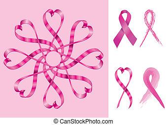 poparcie, wstążki, rak piersi