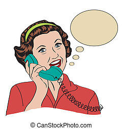 Popart comic retro woman talking by phone, vector illustration