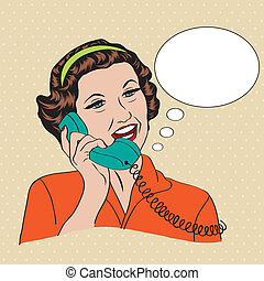 Popart comic retro woman talking by phone, vector ...