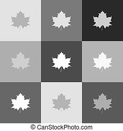 popart-style, feuille, signe., grayscale, version, vector., icon., érable