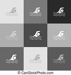 popart-style, sinal., grayscale, água, versão, vector., icon., desporto, natação