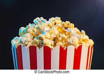 popcorn, över, bio, lätt, bakgrund, film, begrepp