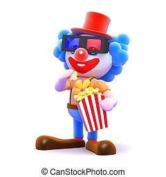 popcorn, 3, äta, clown, bio
