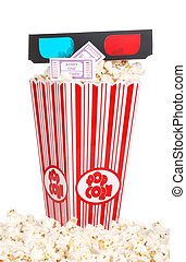 popcorn 3D glasses movie tickets - bucket of popcorn with 3D...