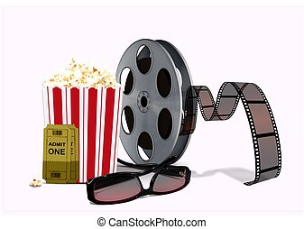 popcorn,  3D, Spule,  Film, Brille