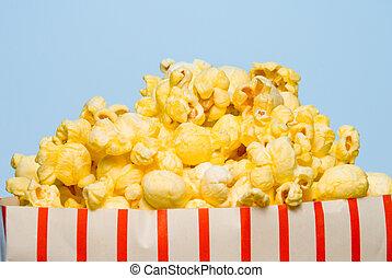 Popcorn - A big over stuffed bag of delicious popcorn.