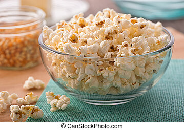 A bowl of freshly popped homemade popcorn.