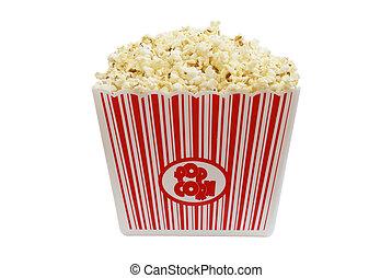 A large bucket of popcorn, isolated on white background.