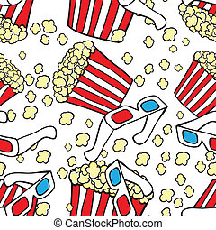 Popcorn and 3d glasses. Cinema concept background