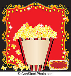 Popcorn and a Movie Birthday Party Invitation with red marquee