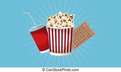 Popcorn and cinema HD animation