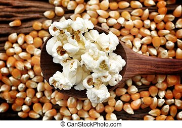 Close up of popcorn and corn grain