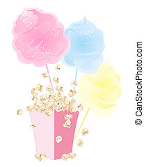 popcorn and cotton candy - an illustration of sweet snacks ...