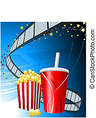 Popcorn and cup of soda on film background