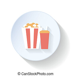 Popcorn and drink flat icon design vector graphic...
