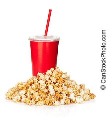 Popcorn and fast food drink. Isolated on white background