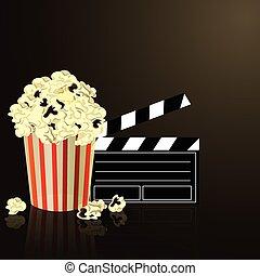 Popcorn and movie  clapper board
