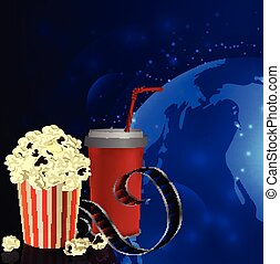 Popcorn and movie  film