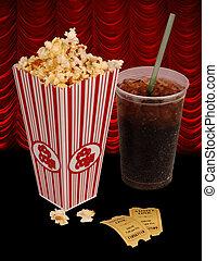 popcorn and movie - Popcorn, soda, & tickets isolated on...