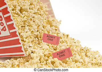 Popcorn and Movie Tickets Spilled