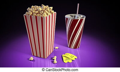 A 1080p HD Stock Video of Pop Corn, Soda and 2 movie tickets on a flashy reflective surface showing flashes of light from all around while the camera slowly pans around.