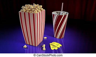 Popcorn and Soda - A 1080p HD Stock Video of PopCorn, Soda...