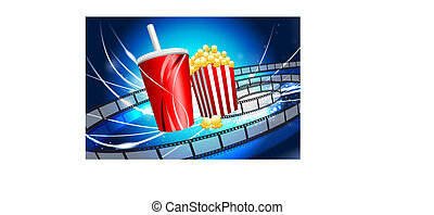 Popcorn and Soda on Abstract Modern Light Background...