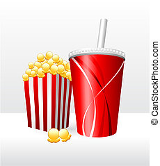 Popcorn and Soda Original Vector Illustration Simple Image...