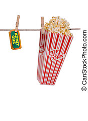 Popcorn and ticket hanging on a clothesline