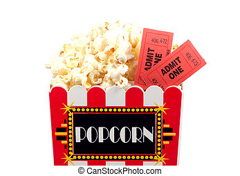 Popcorn and Tickets - Isolated Popcorn Bucket and Tickets