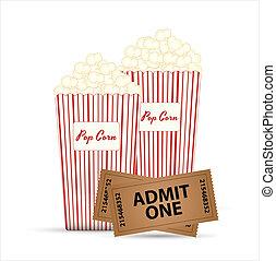 Popcorn and Tickets Vectors - Creative Abstract Conceptual...
