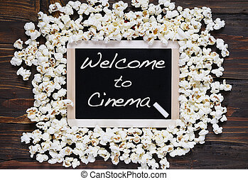 Popcorn and word welcome.