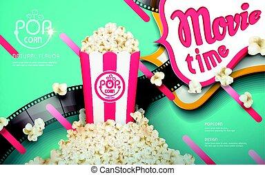 popcorn, anzeigen, köstlich