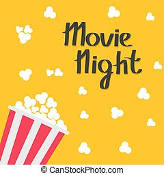Popcorn bag. Cinema icon in flat design style. Left side. Movie night text. Lettering.
