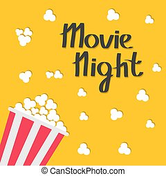 Popcorn bag. Cinema icon in flat design style. Movie night text with shadow. Lettering.