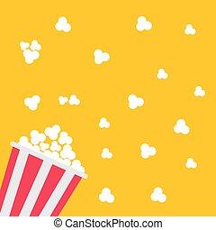 Popcorn bag. Cinema icon in flat design style.