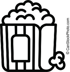 Popcorn bag icon, outline style