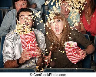 popcorn, bang, paar, morsen