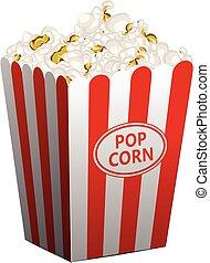 Popcorn basket icon, cartoon style