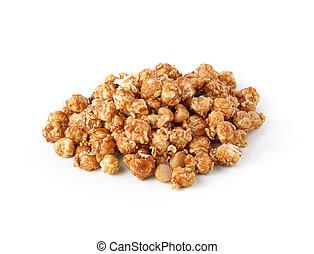 popcorn, bianco, caramello, isolato, fondo