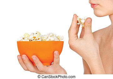 popcorn, bianco, mangiare, adolescente, fondo
