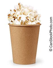 popcorn, bianco, secchio, isolato, fondo