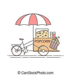 Popcorn bicycle. Cart on wheels. Food and drink kiosk . Vector illustration. Flat line art.