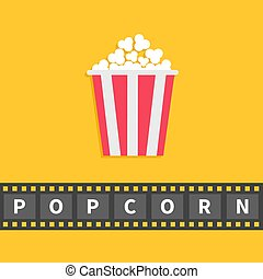 Popcorn. Big film strip line with text. Red white box. Cinema movie night icon in flat design style. Yellow background.
